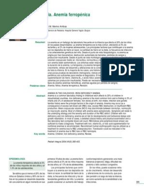 anemia ferropenica valores analiticos