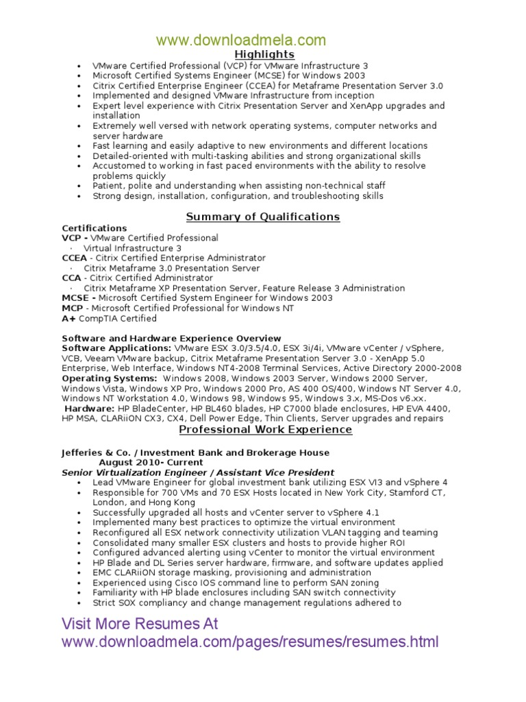 Downloadmela Vmware Certified Professional Resume Group Policy