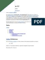 Descomposición LU y Métodos de Gauss