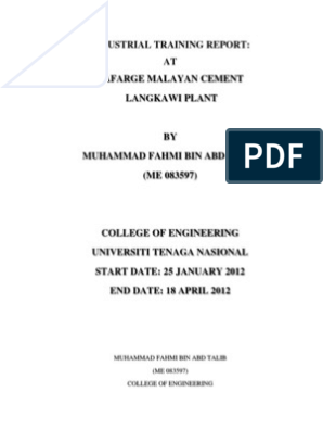 Industrial Training Report At Lafarge Malayan Cement Langkawi Plant Mortar Masonry Concrete