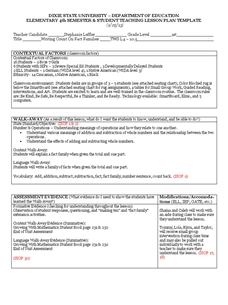 Tws Lesson Writing Count On Fact Families Educational - Special ed lesson plan template