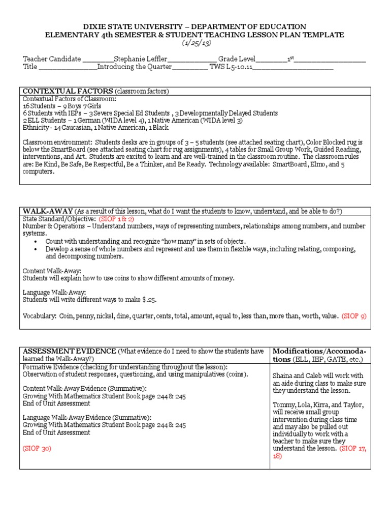 Lesson Plan Format Elementary Ibovnathandedecker