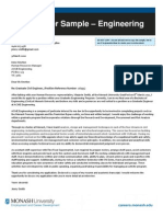 Sample of Engineering Job Application Cover Letter