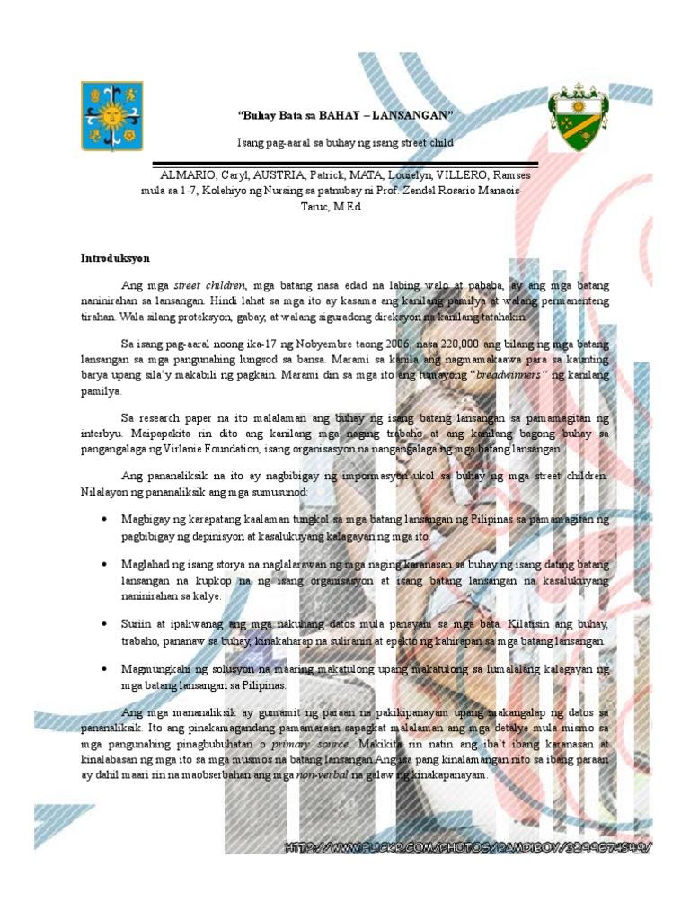 research paper tungkol sa mga batang lansangan