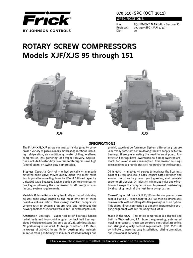 frick xjf xjs 95 to 151 gas compressor bearing mechanical rh scribd com Frick Ammonia Screw Compressor Diagram frick screw compressor spare parts