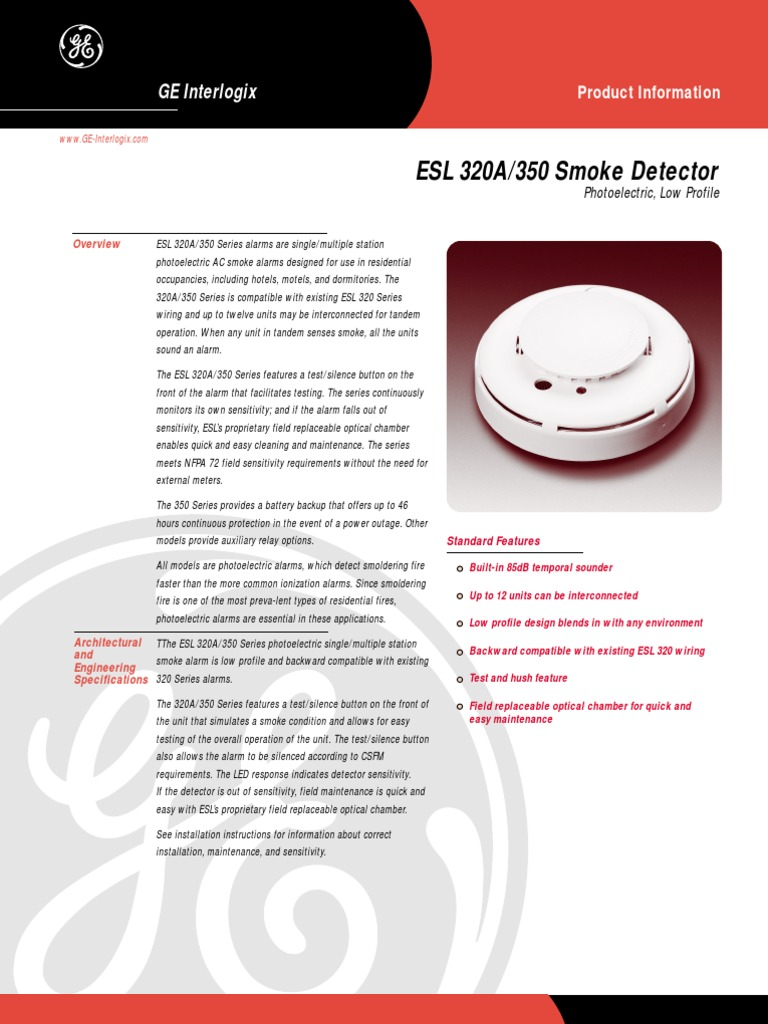 Ge 350cc Smoke Detector Wiring Diagram Third Level Interconnect Esl320a Electrical Equipment Manufactured Goods