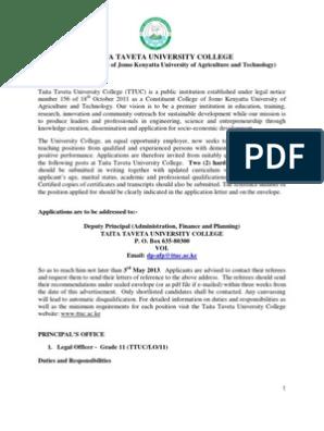 Taita Taveta University College - Vacancies   Academic