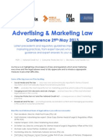 PROGRAM - Advertising & Marketing Law, 29 May 2013 (Updated 25 Feb)