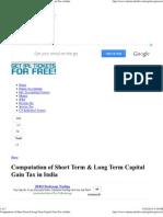 Computation of Short Term & Long Term Capital Gain Tax in India