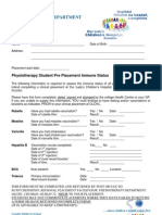 OLCHC PT Student Pre Placement Immune Status