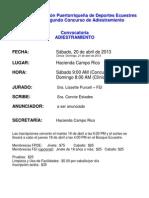 Convocatoria Concurso de Adiestramiento # 2 - 2013
