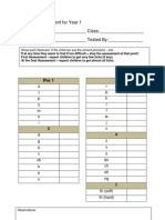Phonics Assessment for Year 1 - English