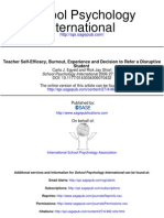 Teacher Self-Efficacy, Burnout, Experience and Decision to Refer a Disruptive Student (Statistics)