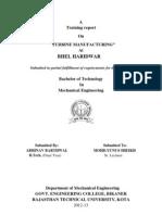 BHEL Haridwar Block 3 Turbine manufacturing training report