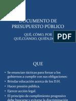 DOCUMENTO DE  PRESUPUESTO PÚBLICO