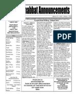 Shabbat Announcements March 28, 2009
