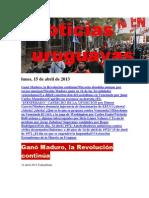 Noticias Uruguayas Lunes 15 de Abril Del 2013
