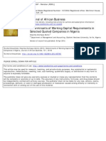 Determinants of Working Capital Requirements In