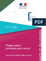 Péage urbain Principes pour une loi - 2009
