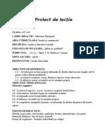 Proiect de lectie