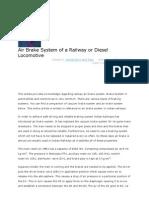 Air Brake System of a Railway or Diesel Locomotive