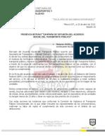 """PRESENTA SETRAVI """"CAMPAÑA DE DIFUSIÓN DEL ACUERDO SOCIAL DEL TRANSPORTE PÚBLICO"""""""