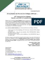 60 - CP Finalistes Prix Du Livre Politique 2009