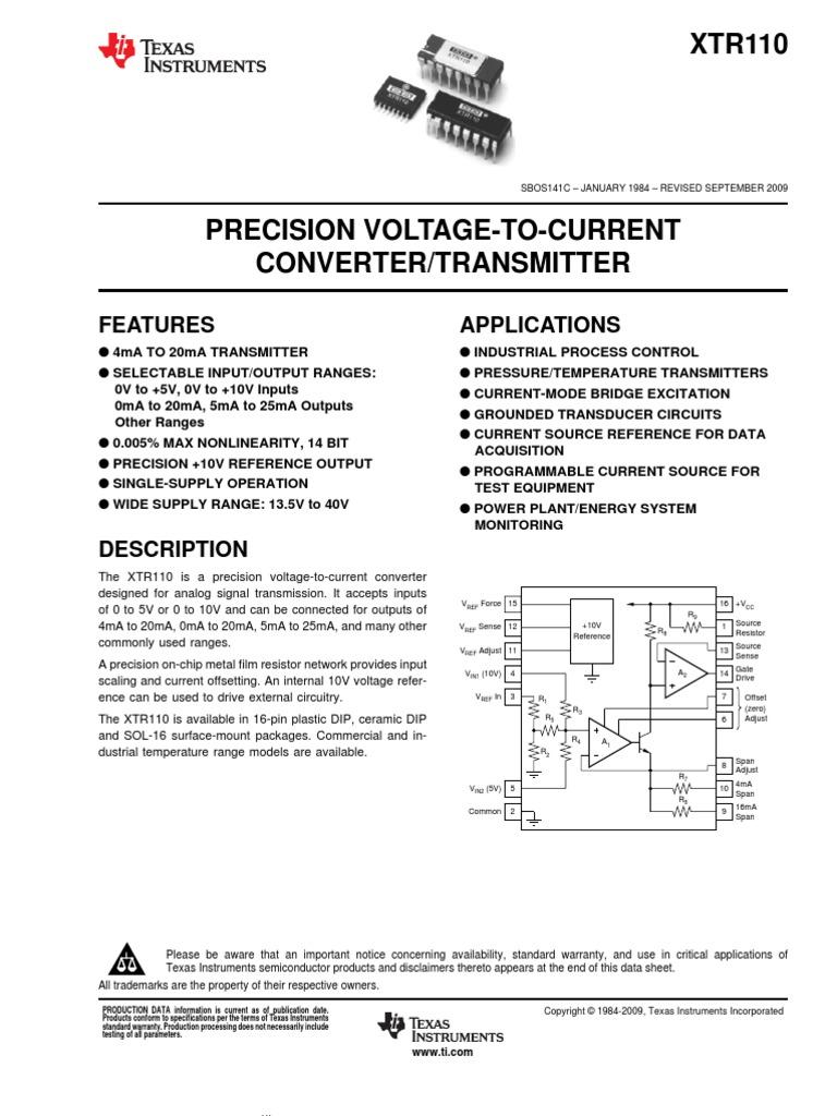 Xtr110 Electrostatic Discharge Operational Amplifier Precision Rectifier Voltagetocurrent Converter