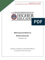 2012 Legislative Report on Remedial Education