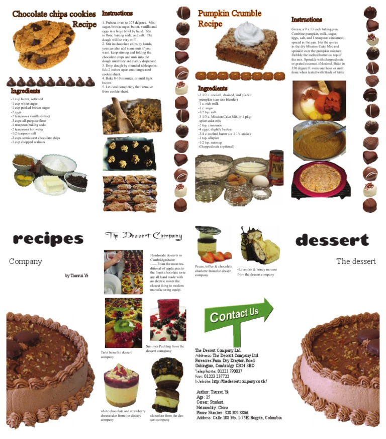 Dessert Recipe Brochure | Desserts | Teaspoon