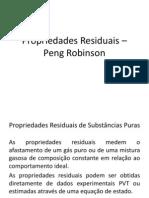 Propriedades Residuais – Peng Robinson