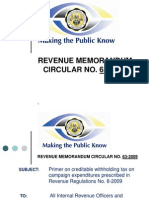 Revenue Memorandum Circular No. 63-2009