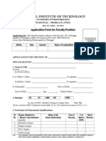 Application Formt for Faculty Positions