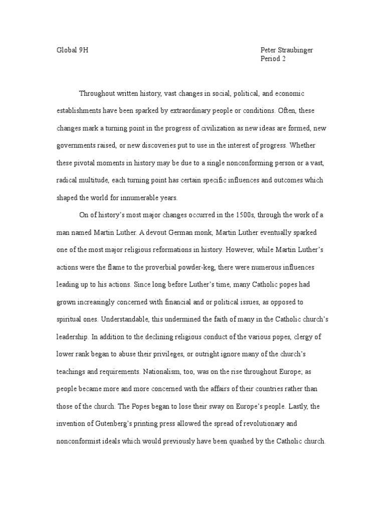Neolithic revolution essay turning point essay martin luther