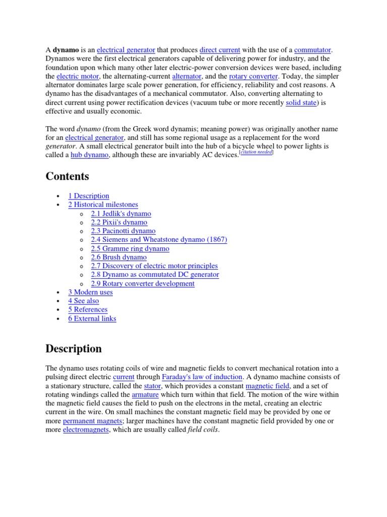 Dynamo Electric Generator Motor Simple Design Generators And Dynamos