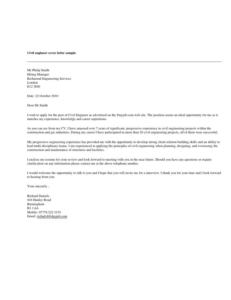 Civil Engineer Cover Letter Sample