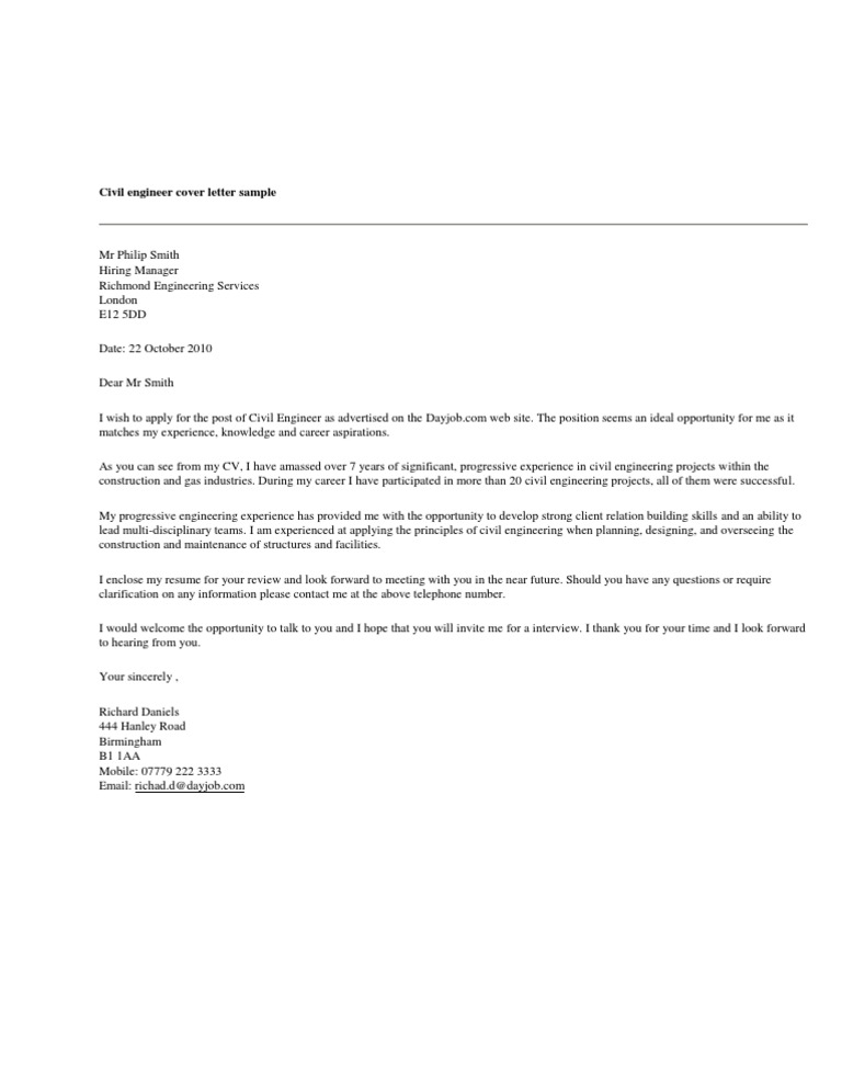 Civil Engineer Cover Letter Sample