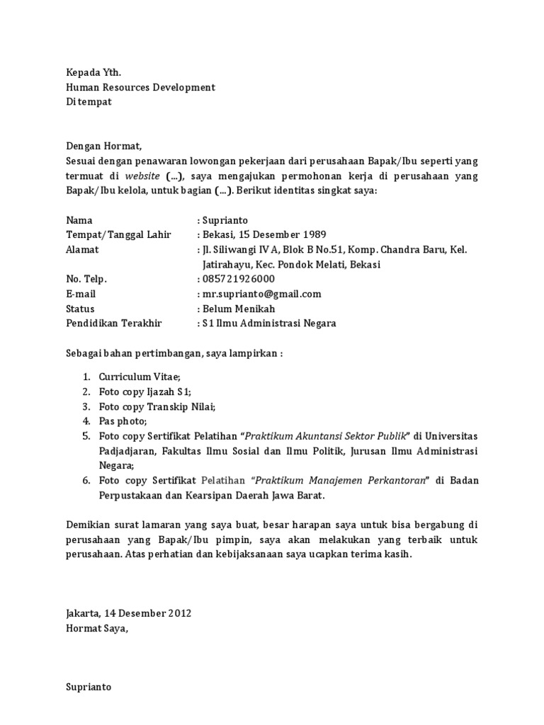 Contoh Surat Lamaran Tanpa Perusahaan
