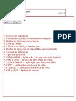 Chumbadores Tecnart - Dados Técnicos