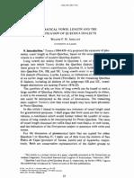 Vowel length & Quechua dialects