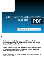 Employment Verification Services- India -Crederity HR Survey Results 2008 - 2009