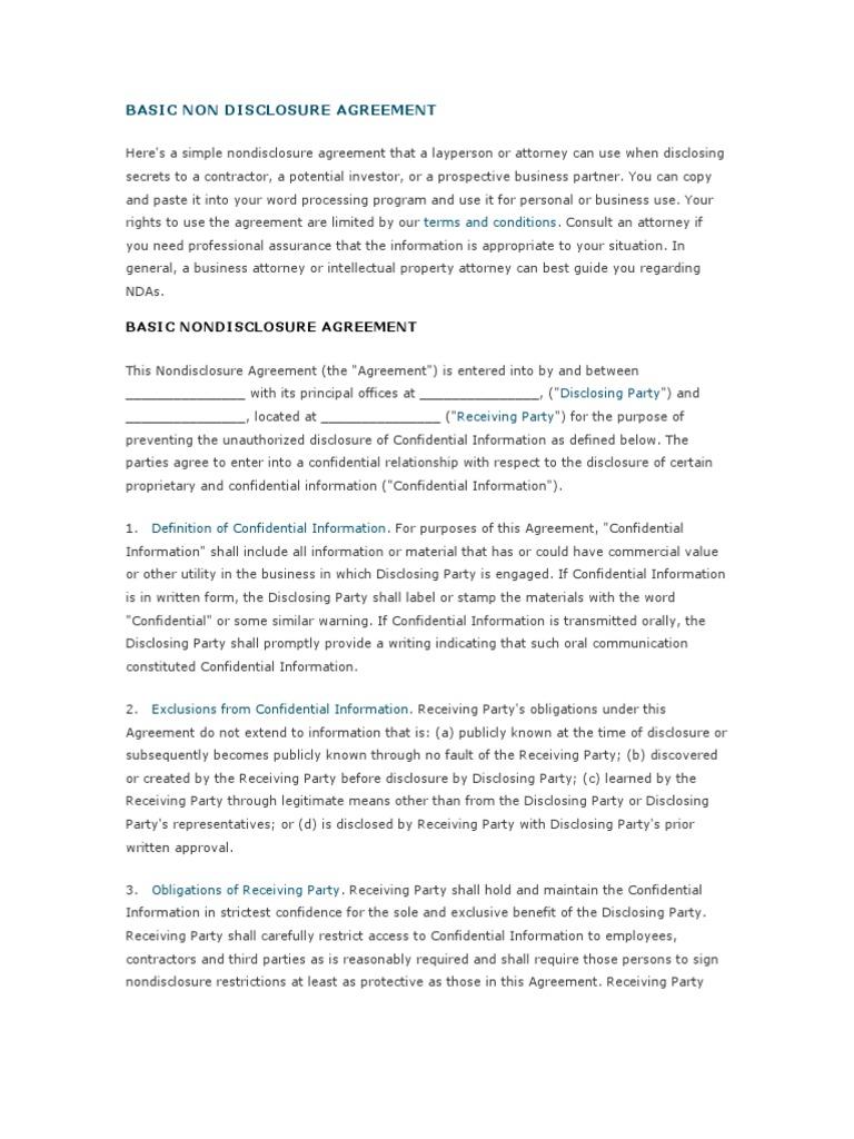 Basic Non Disclosure Agreement Non Disclosure Agreement