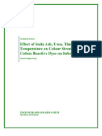 Effect of Soda Ash, Urea, Time and Temperature on Colour Strength of Cotton Reactive Dyes on Substrate