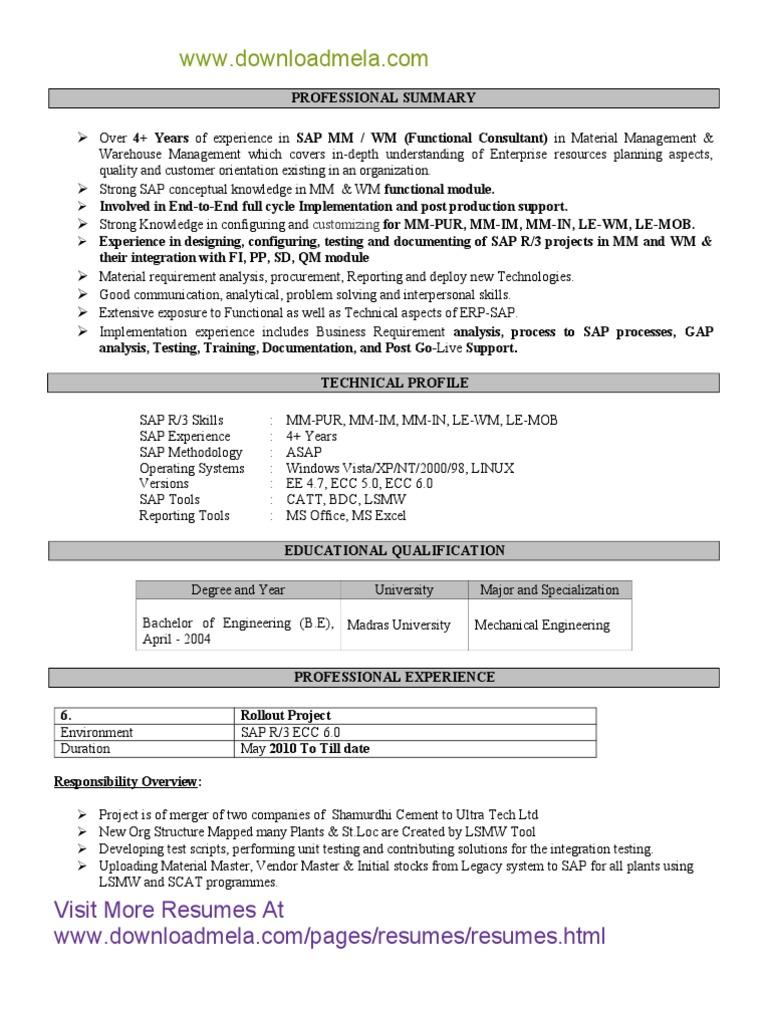 Sap Mm Wm Resume sap wm support resume resume sample of sap