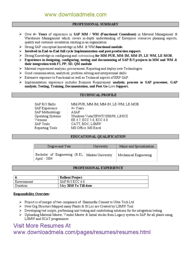 SAP-SD-MM-Functional-Consultant-Resume pdf | Sap Se