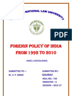 FOREIGN POLICY OF INDIA FROM 1992 to 2010.docx