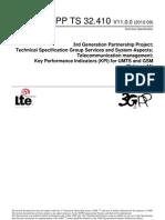 Telecommunication Management; Key Performance Indicators (KPI) for UMTS and GSM