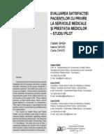 Evaluarea satisfacţiei Pacienţilor cu privire la serviciile medicale şi prestaţia medicilor – studiu pilot