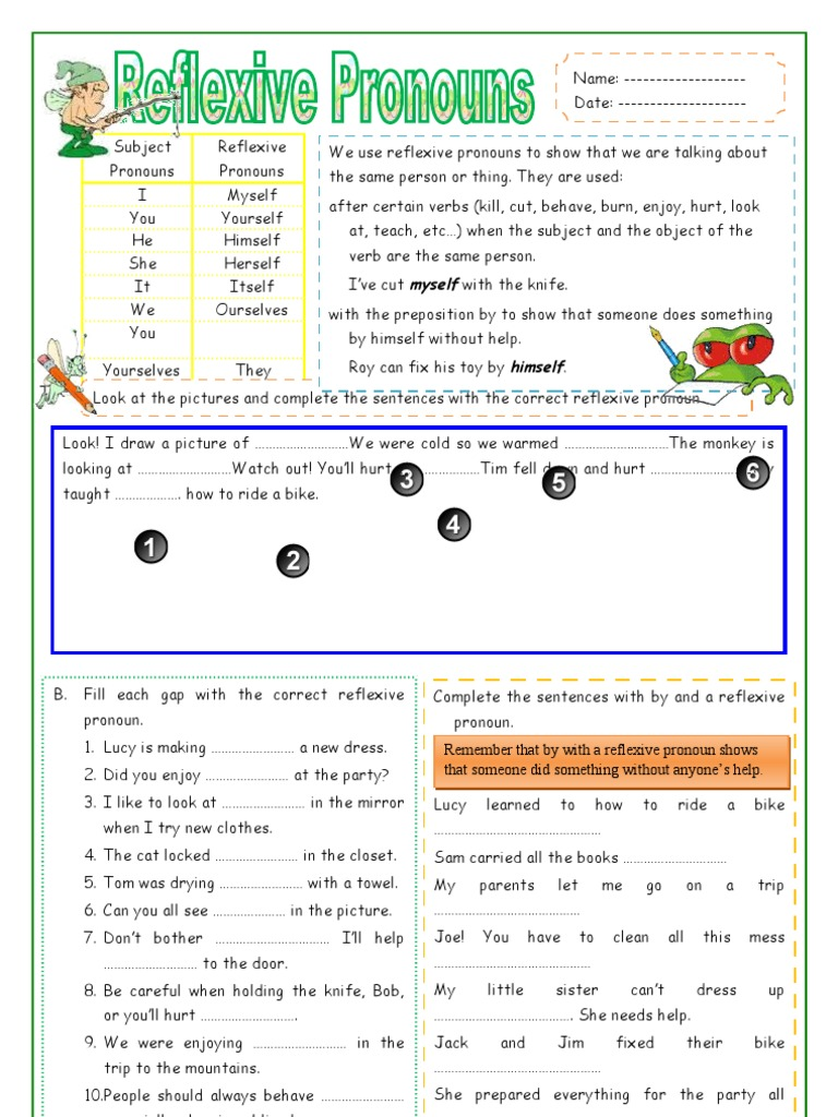 worksheet Reflexive Pronoun Worksheets reflexive pronouns doc pronoun grammar
