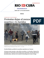 Boletín de Diario de Cuba | Del 11 al 16 de abril de 2013